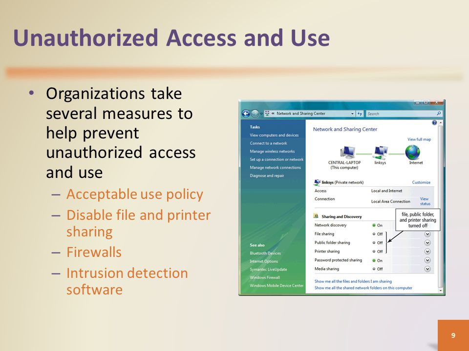 Unauthorized Access and Use Access controls define who can access a computer, when they can access it, and what actions they can take – Two-phase processes called identification and authentication 1) User names and Passwords 10