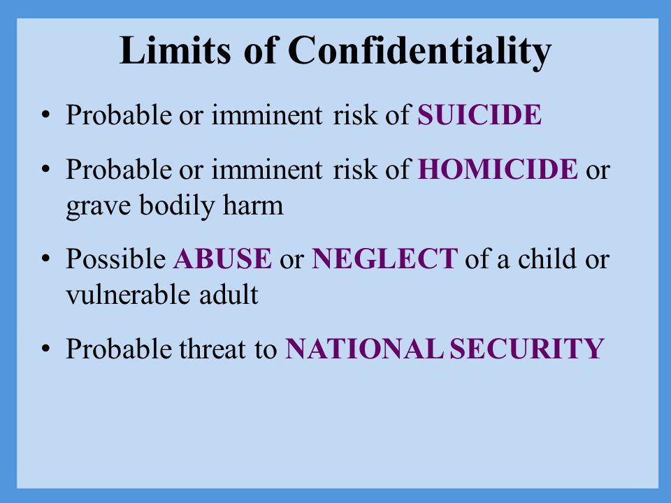 Limits of Confidentiality Probable or imminent risk of SUICIDE Probable or imminent risk of HOMICIDE or grave bodily harm Possible ABUSE or NEGLECT of a child or vulnerable adult Probable threat to NATIONAL SECURITY