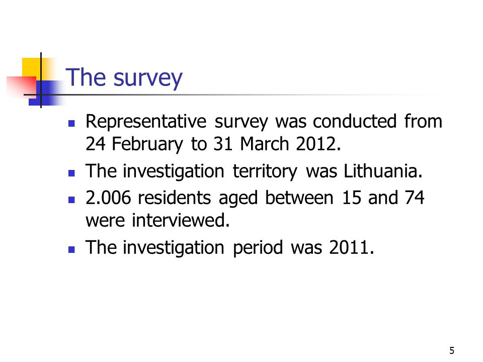 The survey 5 Representative survey was conducted from 24 February to 31 March 2012.