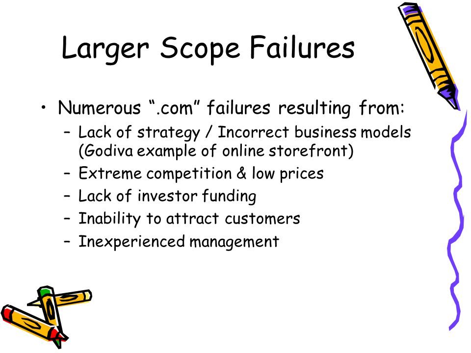 Larger Scope Failures Numerous .com failures resulting from: –Lack of strategy / Incorrect business models (Godiva example of online storefront) –Extreme competition & low prices –Lack of investor funding –Inability to attract customers –Inexperienced management