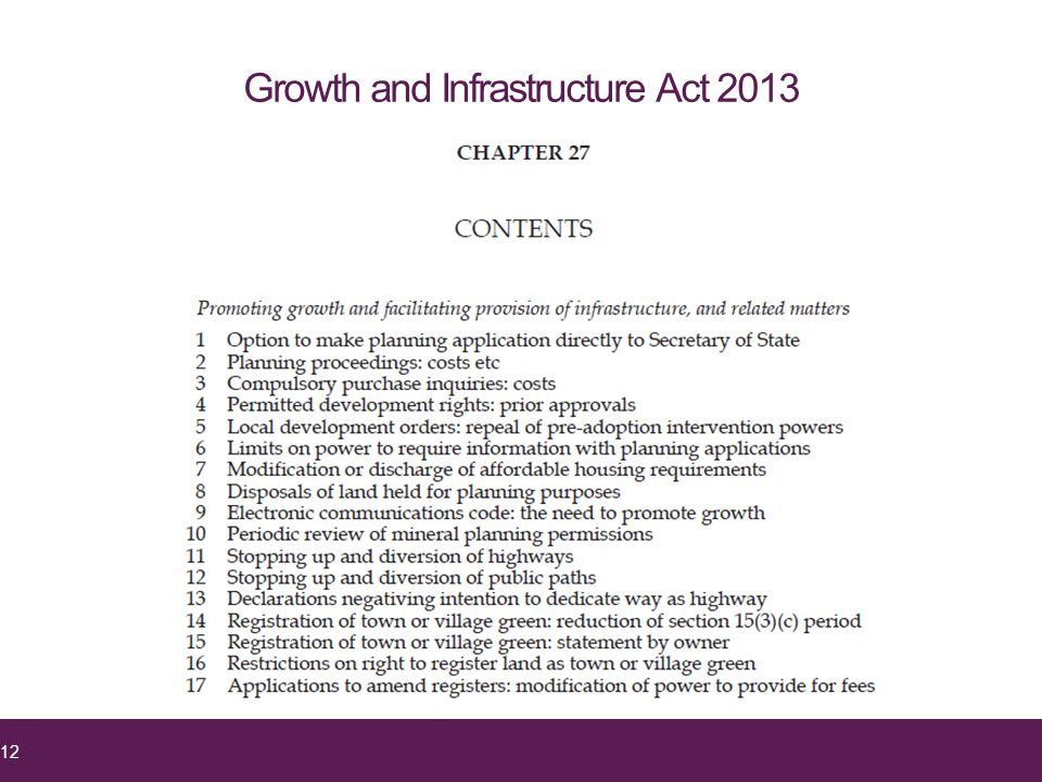 Growth and Infrastructure Act 2013 12
