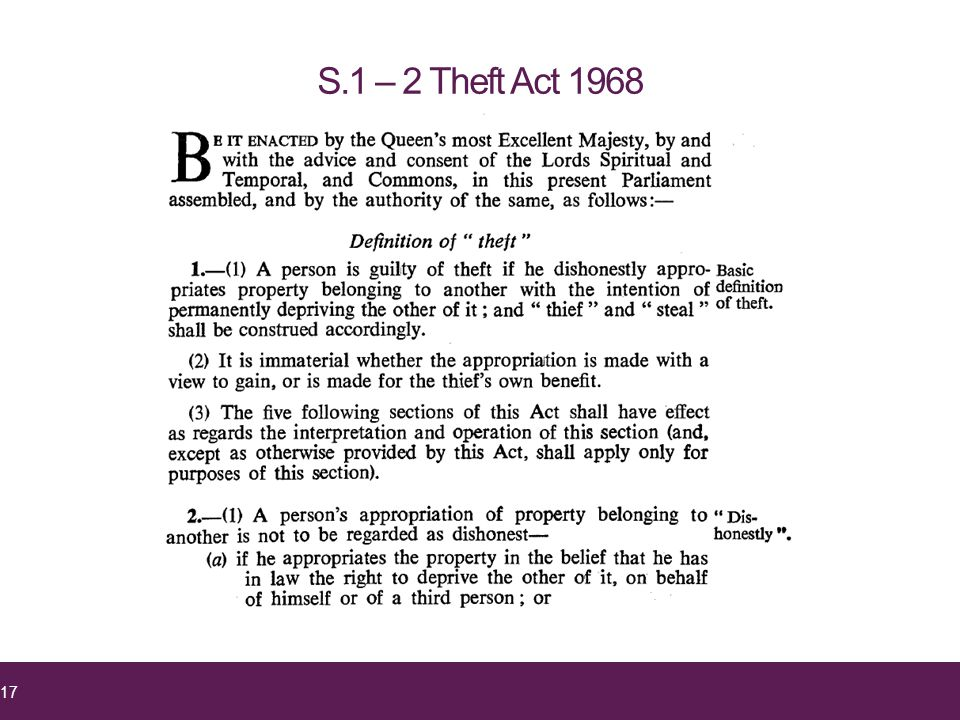 S.1 – 2 Theft Act 1968 17