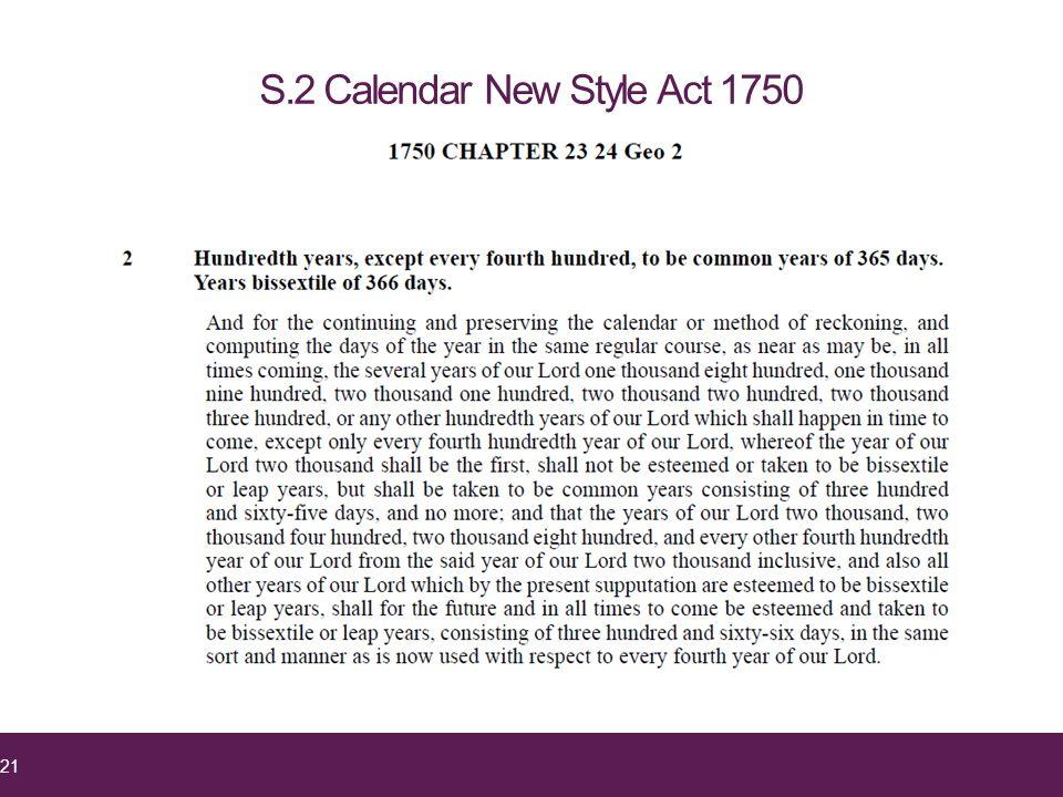 S.2 Calendar New Style Act 1750 21