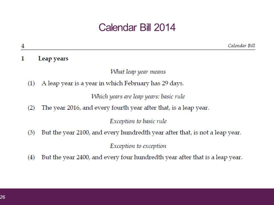 26 Calendar Bill 2014