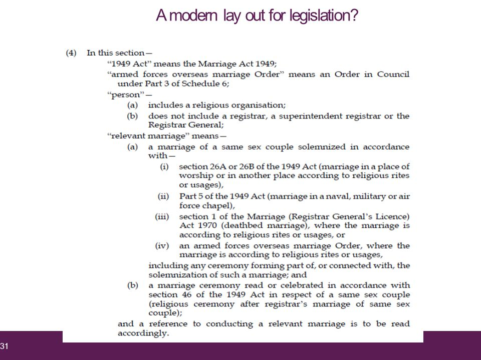 31 A modern lay out for legislation?