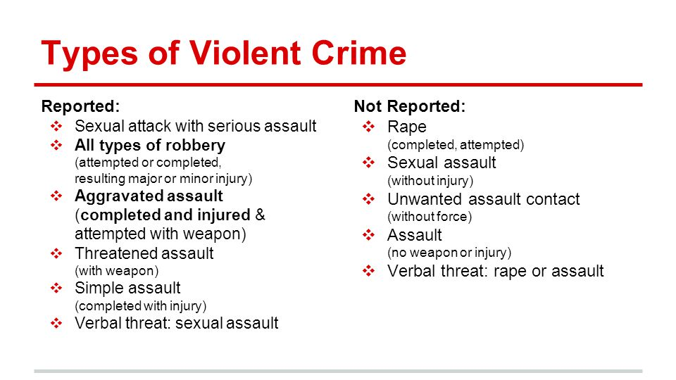 Types of Violent Crime Reported: ❖ Sexual attack with serious assault ❖ All types of robbery (attempted or completed, resulting major or minor injury)