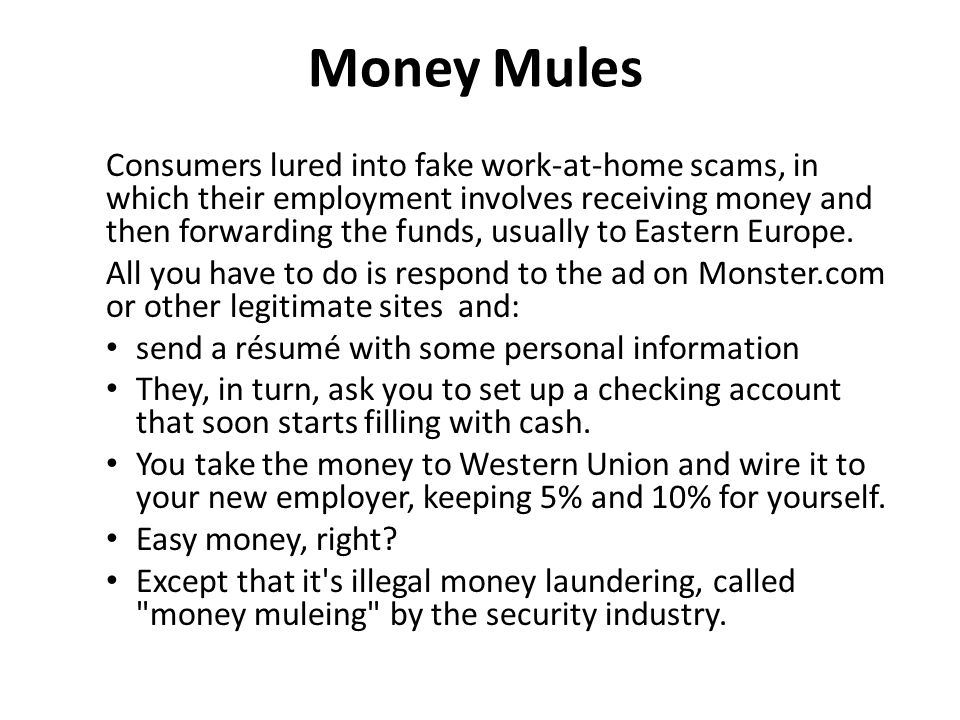 Money Mules Consumers lured into fake work-at-home scams, in which their employment involves receiving money and then forwarding the funds, usually to Eastern Europe.