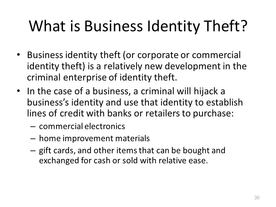 What is Business Identity Theft.