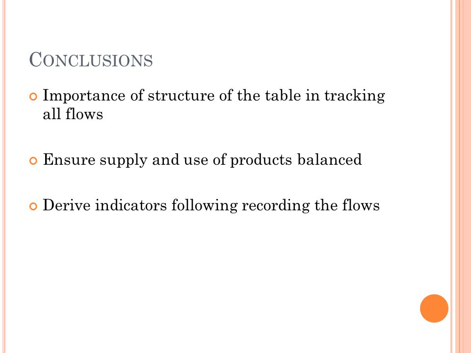 C ONCLUSIONS Importance of structure of the table in tracking all flows Ensure supply and use of products balanced Derive indicators following recordi
