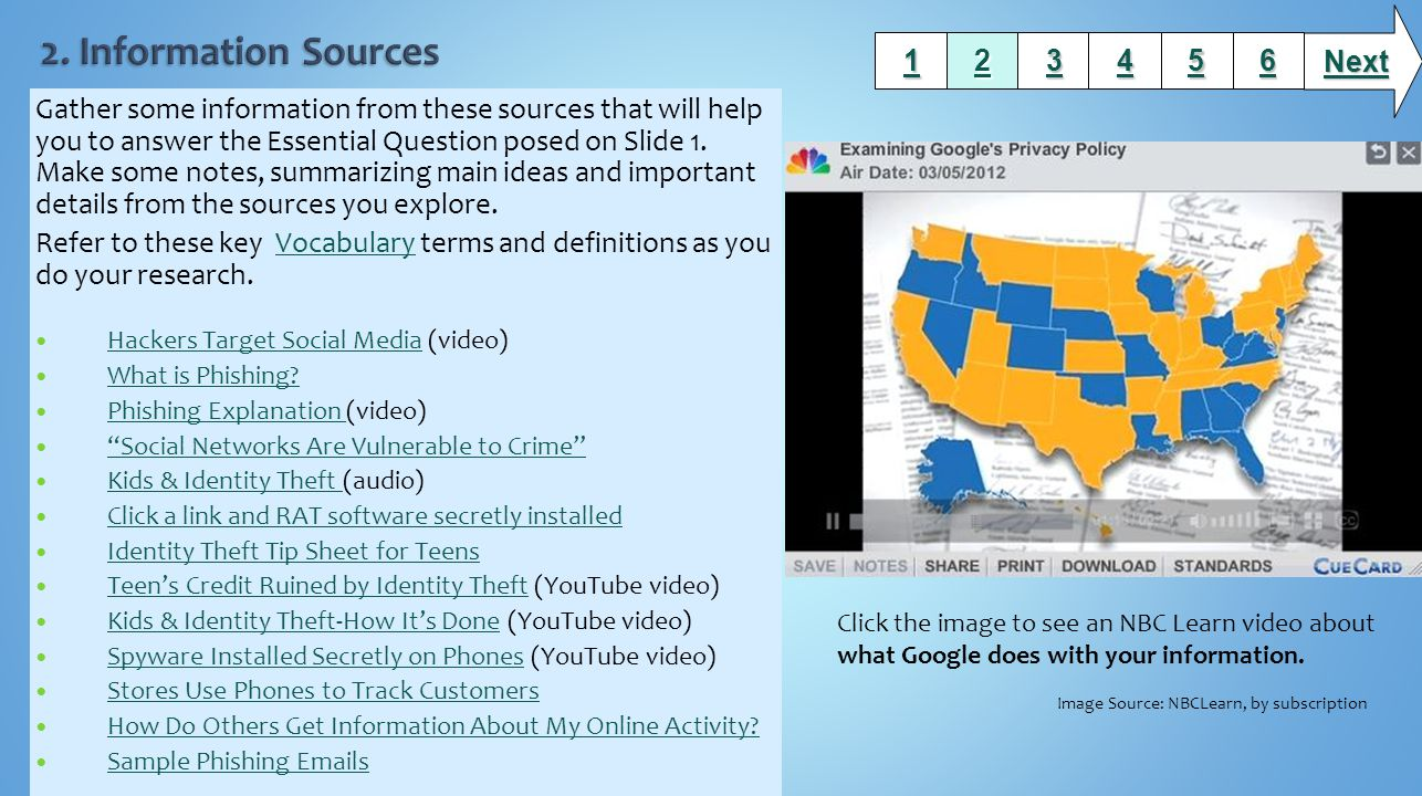 Gather some information from these sources that will help you to answer the Essential Question posed on Slide 1.