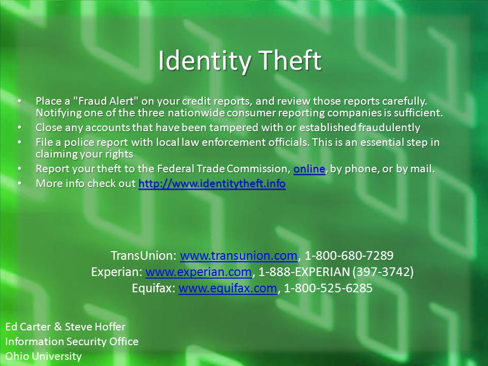 Identity Theft Place a