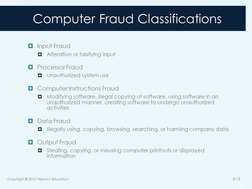 Computer Fraud Classifications  Input Fraud  Alteration or falsifying input  Processor Fraud  Unauthorized system use  Computer Instructions Fraud  Modifying software, illegal copying of software, using software in an unauthorized manner, creating software to undergo unauthorized activities  Data Fraud  Illegally using, copying, browsing, searching, or harming company data  Output Fraud  Stealing, copying, or misusing computer printouts or displayed information Copyright © 2012 Pearson Education 5-15