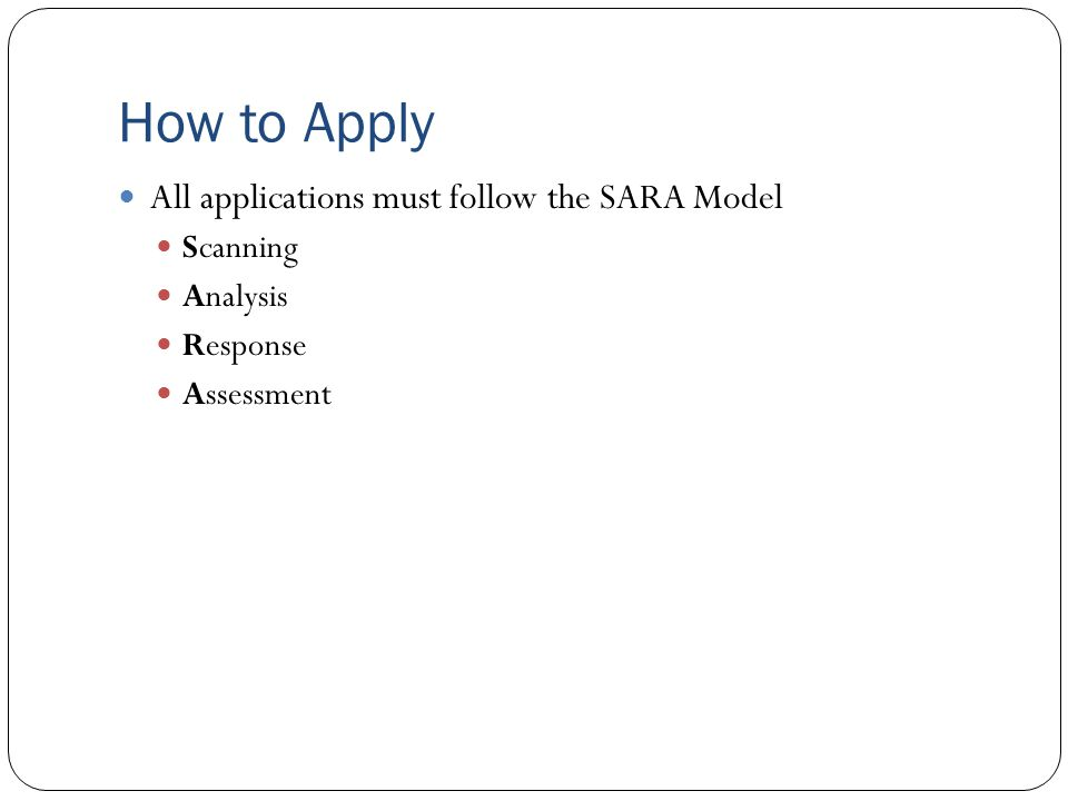 How to Apply All applications must follow the SARA Model Scanning Analysis Response Assessment