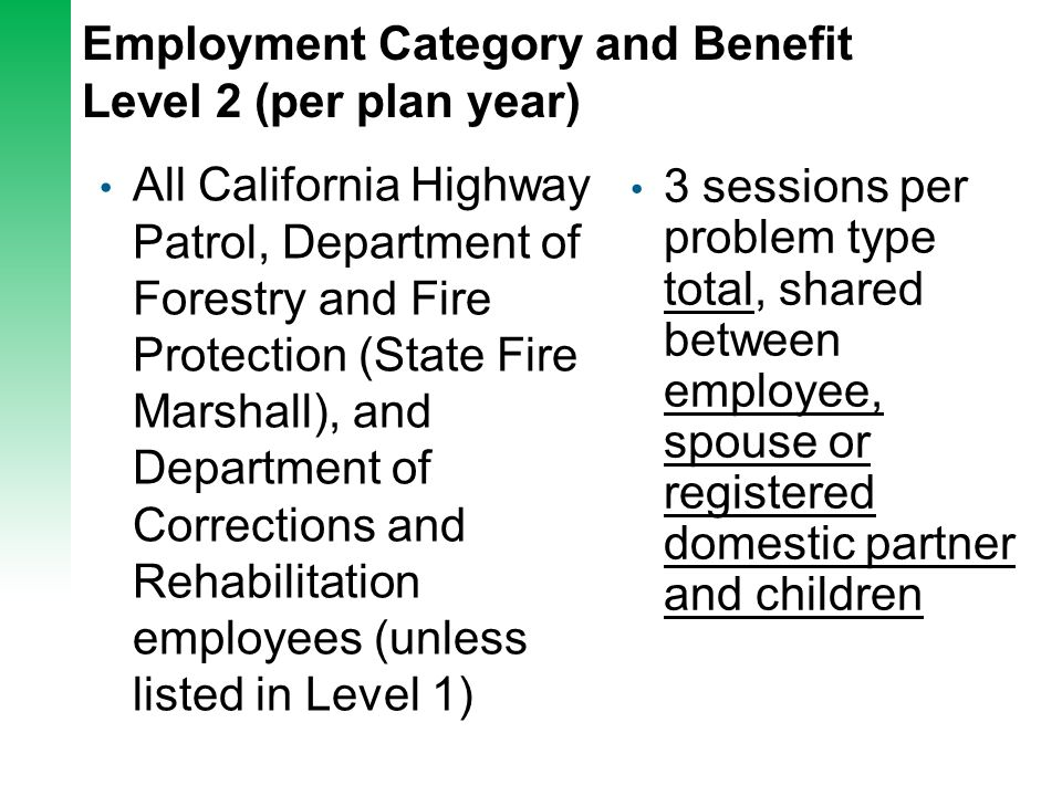 Employment Category and Benefit Level 2 (per plan year) All California Highway Patrol, Department of Forestry and Fire Protection (State Fire Marshall
