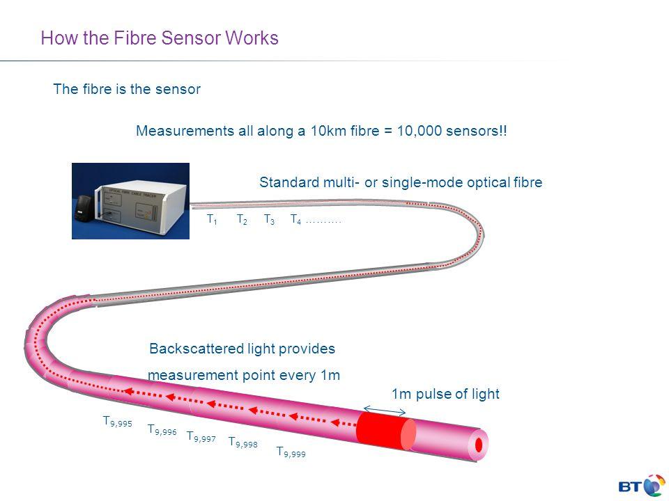 The fibre is the sensor Standard multi- or single-mode optical fibre 1m pulse of light Backscattered light provides measurement point every 1m T 9,999 T 9,998 T 9,997 T 9,996 T 9,995 T 1 T 2 T 3 T 4 ……….