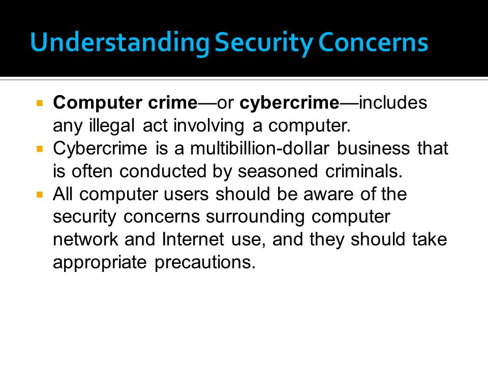  Computer crime—or cybercrime—includes any illegal act involving a computer.