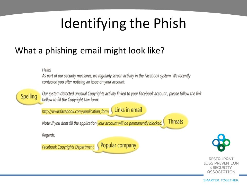 Identifying the Phish What a phishing email might look like?