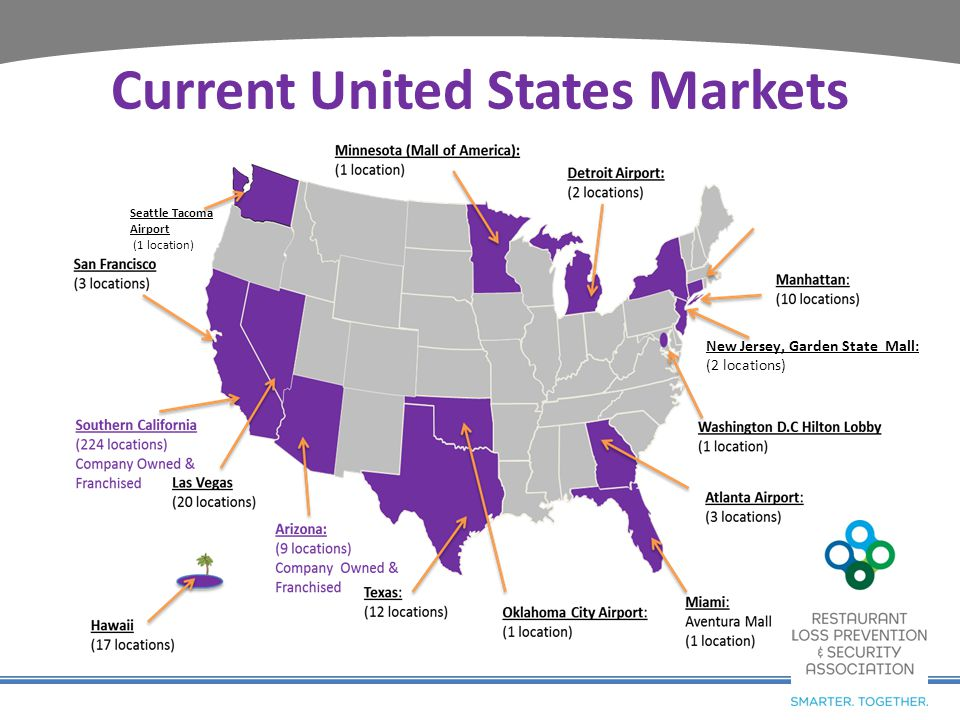 Current United States Markets Seattle Tacoma Airport (1 location) New Jersey, Garden State Mall: (2 locations)
