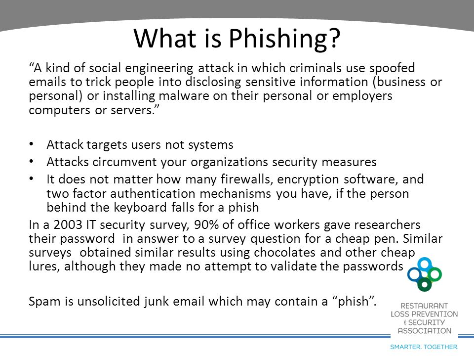 "What is Phishing? ""A kind of social engineering attack in which criminals use spoofed emails to trick people into disclosing sensitive information (bu"