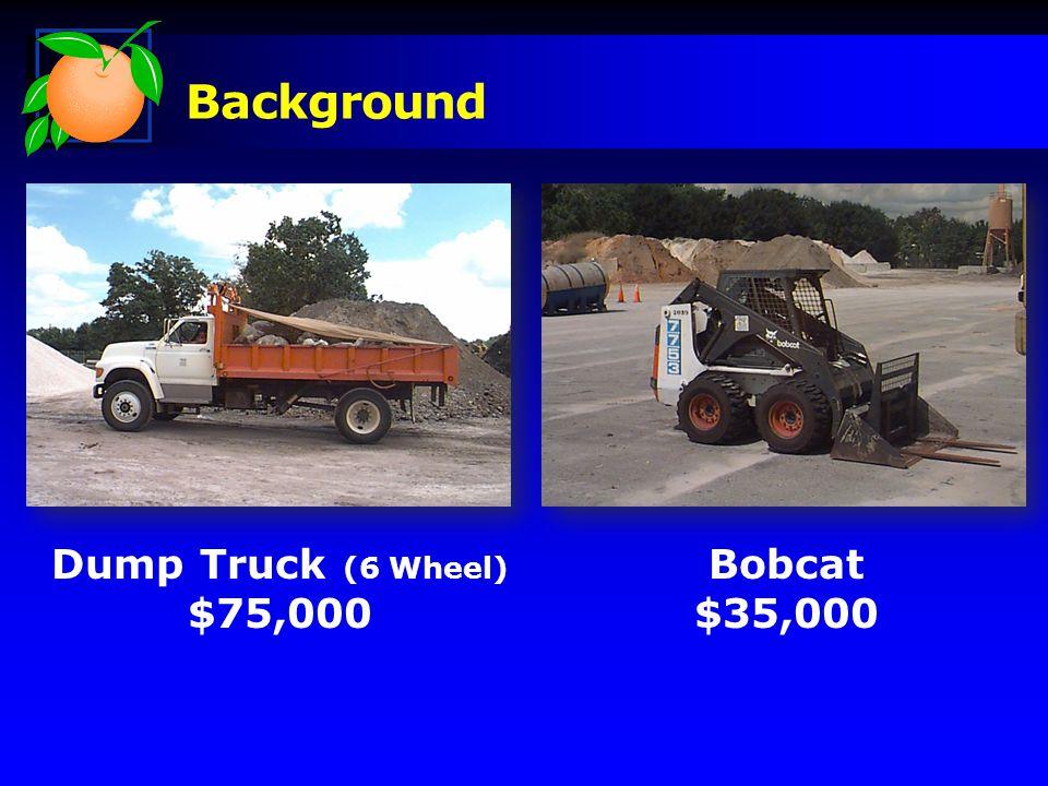 Background Dump Truck (6 Wheel) $75,000 Bobcat $35,000