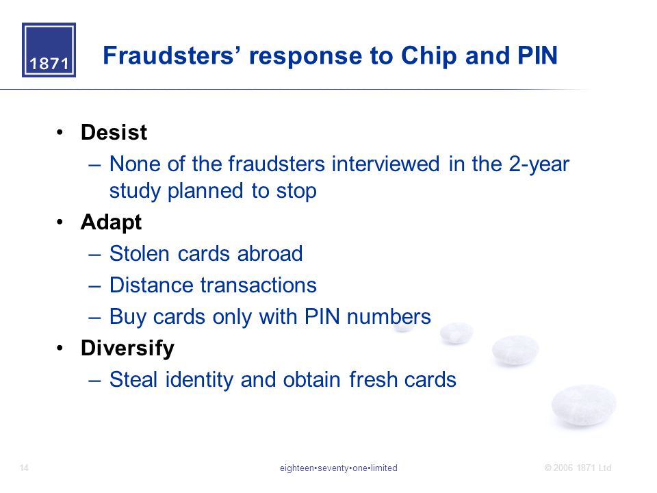 eighteenseventyonelimited14© 2006 1871 Ltd Fraudsters' response to Chip and PIN Desist –None of the fraudsters interviewed in the 2-year study planned to stop Adapt –Stolen cards abroad –Distance transactions –Buy cards only with PIN numbers Diversify –Steal identity and obtain fresh cards