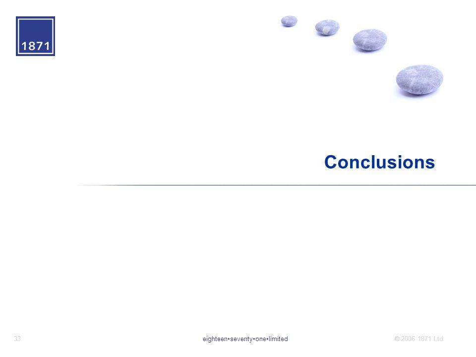 eighteenseventyonelimited33© 2006 1871 Ltd Conclusions