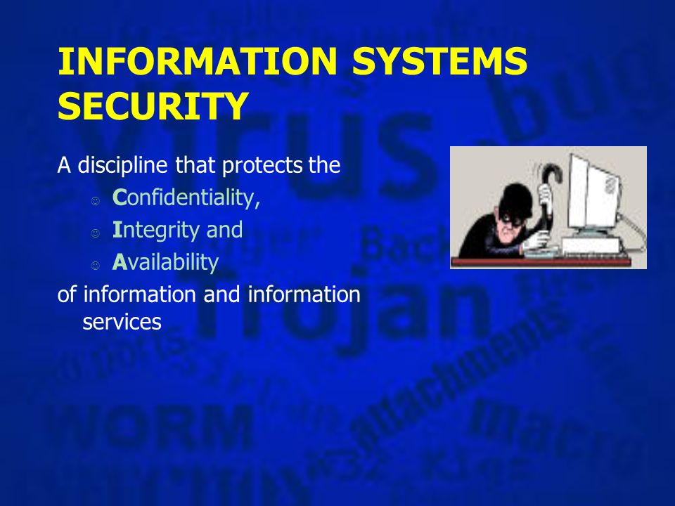 Threats to Computerized Information Systems §Hardware failure §Software failure §Personnel actions §Terminal access penetration §Theft of data, services, equipment §Fire §Electrical problems §User errors §Unauthorized program changes §Telecommunication problems