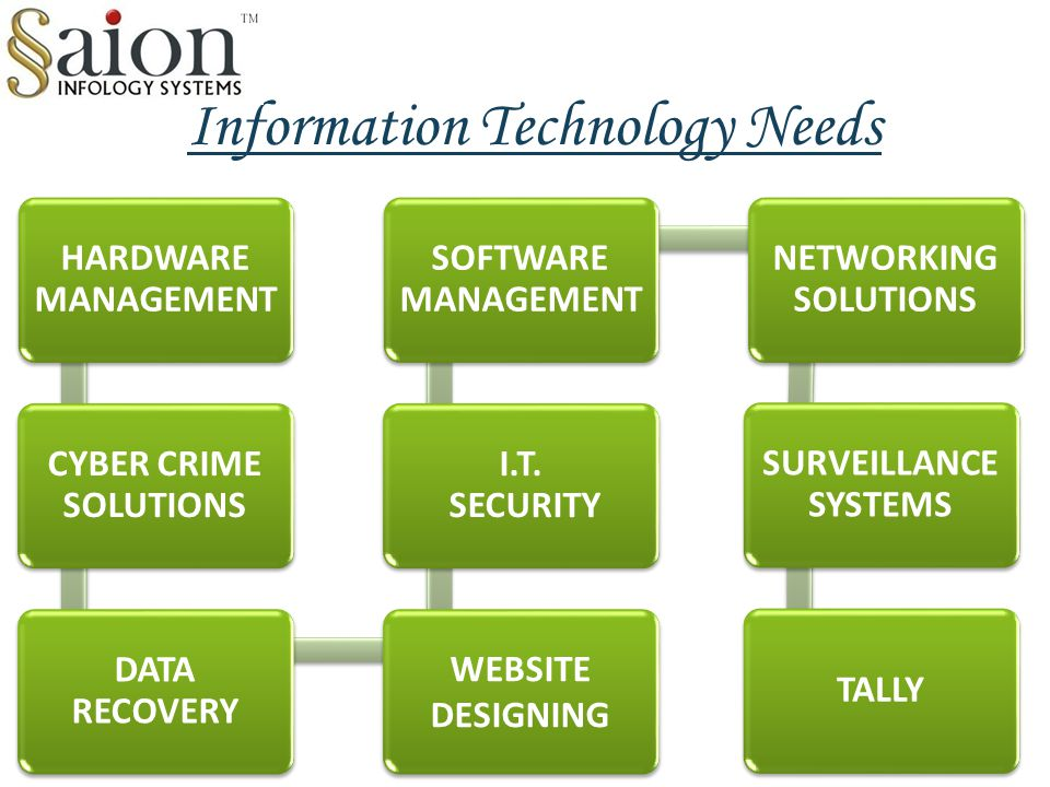 Information Technology Needs HARDWARE MANAGEMENT CYBER CRIME SOLUTIONS DATA RECOVERY WEBSITE DESIGNING I.T. SECURITY SOFTWARE MANAGEMENT NETWORKING SO