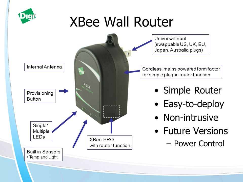 Cordless, mains powered form factor for simple plug-in router function Built in Sensors Temp and Light Provisioning Button XBee-PRO with router functi