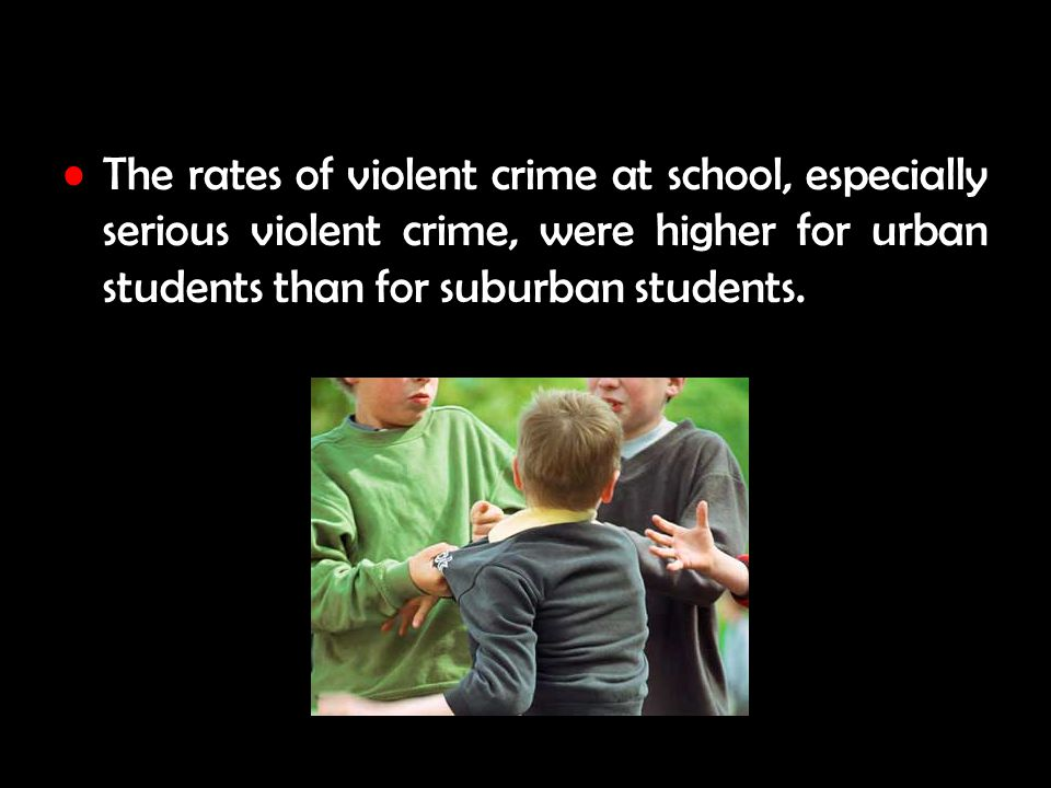 The rates of violent crime at school, especially serious violent crime, were higher for urban students than for suburban students.