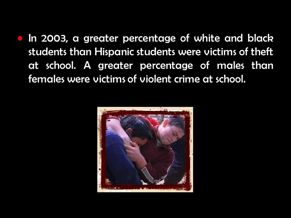 In 2003, a greater percentage of white and black students than Hispanic students were victims of theft at school.