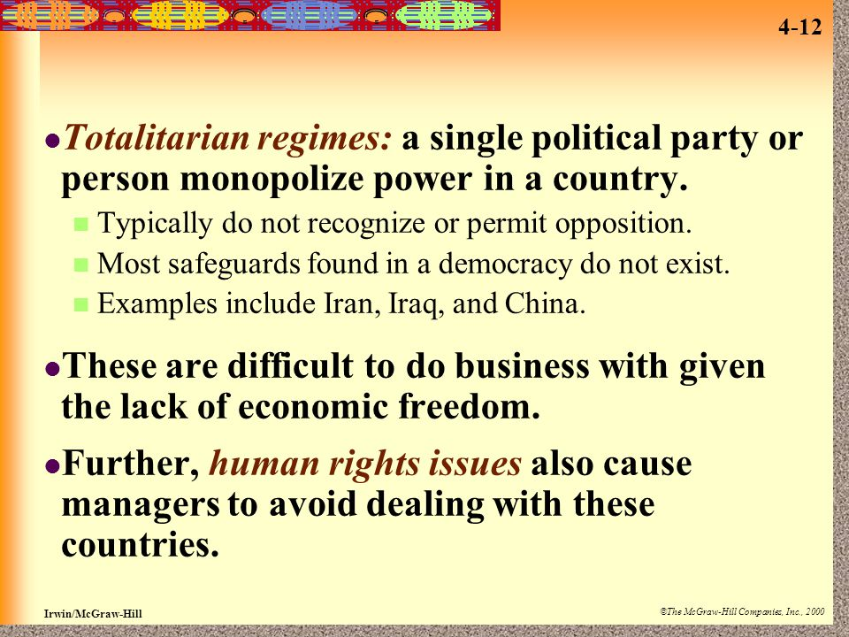 Irwin/McGraw-Hill ©The McGraw-Hill Companies, Inc., 2000 4-12 Totalitarian regimes: a single political party or person monopolize power in a country.