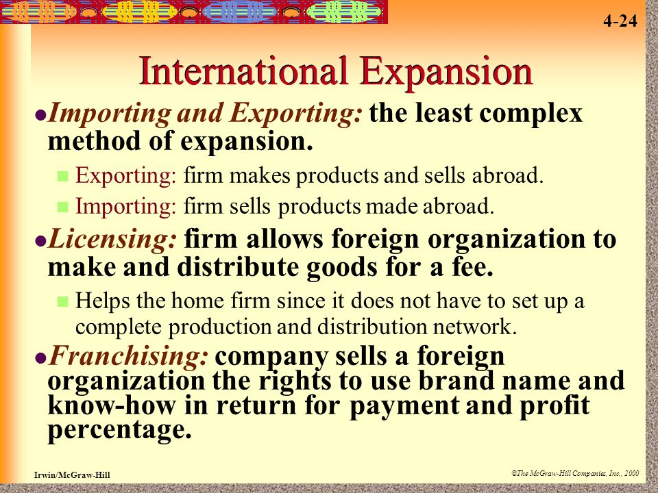 Irwin/McGraw-Hill ©The McGraw-Hill Companies, Inc., 2000 4-24 International Expansion Importing and Exporting: the least complex method of expansion.