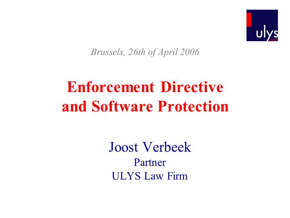 Plan I.Introduction II. Legal Context III. Enforcement Directive 2004/48/EC IV.