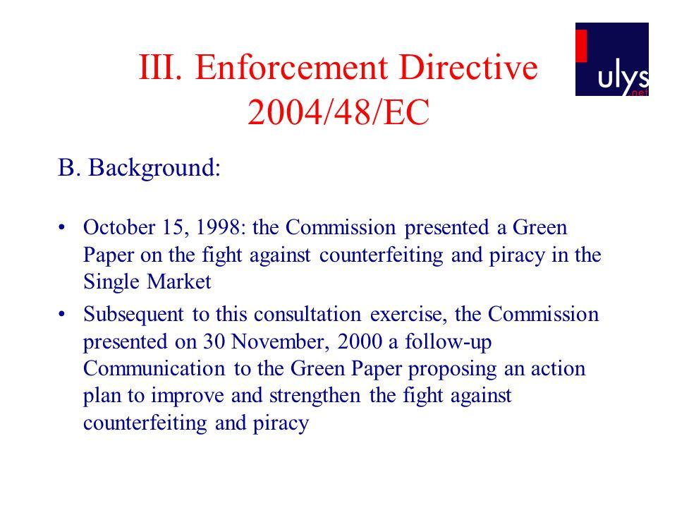 III. Enforcement Directive 2004/48/EC B.