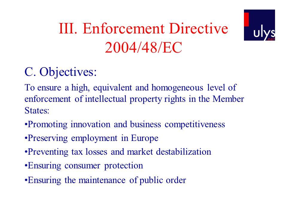 III. Enforcement Directive 2004/48/EC C.