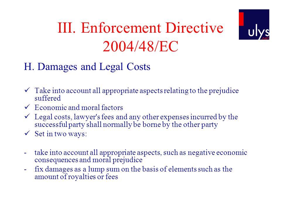 III. Enforcement Directive 2004/48/EC H.