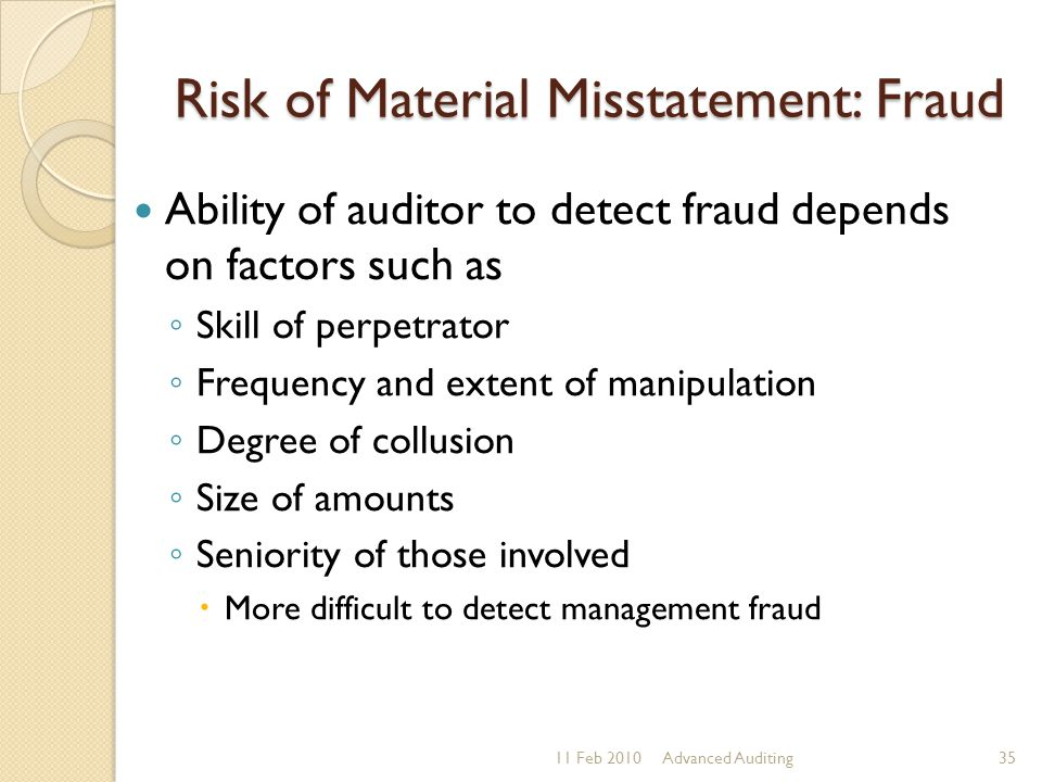 Risk of Material Misstatement: Fraud Ability of auditor to detect fraud depends on factors such as ◦ Skill of perpetrator ◦ Frequency and extent of ma