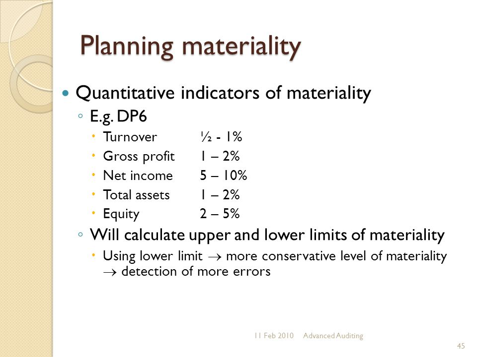 Planning materiality Quantitative indicators of materiality ◦ E.g. DP6  Turnover ½ - 1%  Gross profit 1 – 2%  Net income 5 – 10%  Total assets 1 –