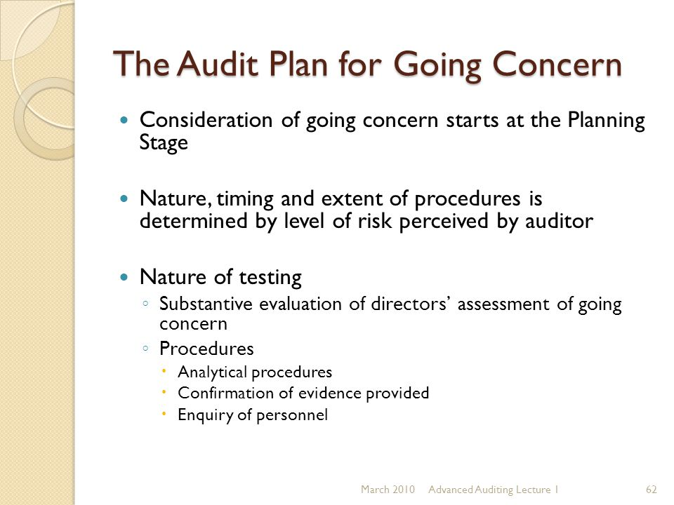 The Audit Plan for Going Concern Consideration of going concern starts at the Planning Stage Nature, timing and extent of procedures is determined by