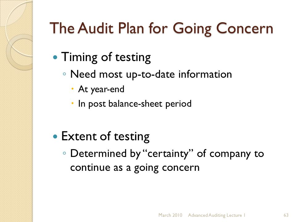 The Audit Plan for Going Concern Timing of testing ◦ Need most up-to-date information  At year-end  In post balance-sheet period Extent of testing ◦