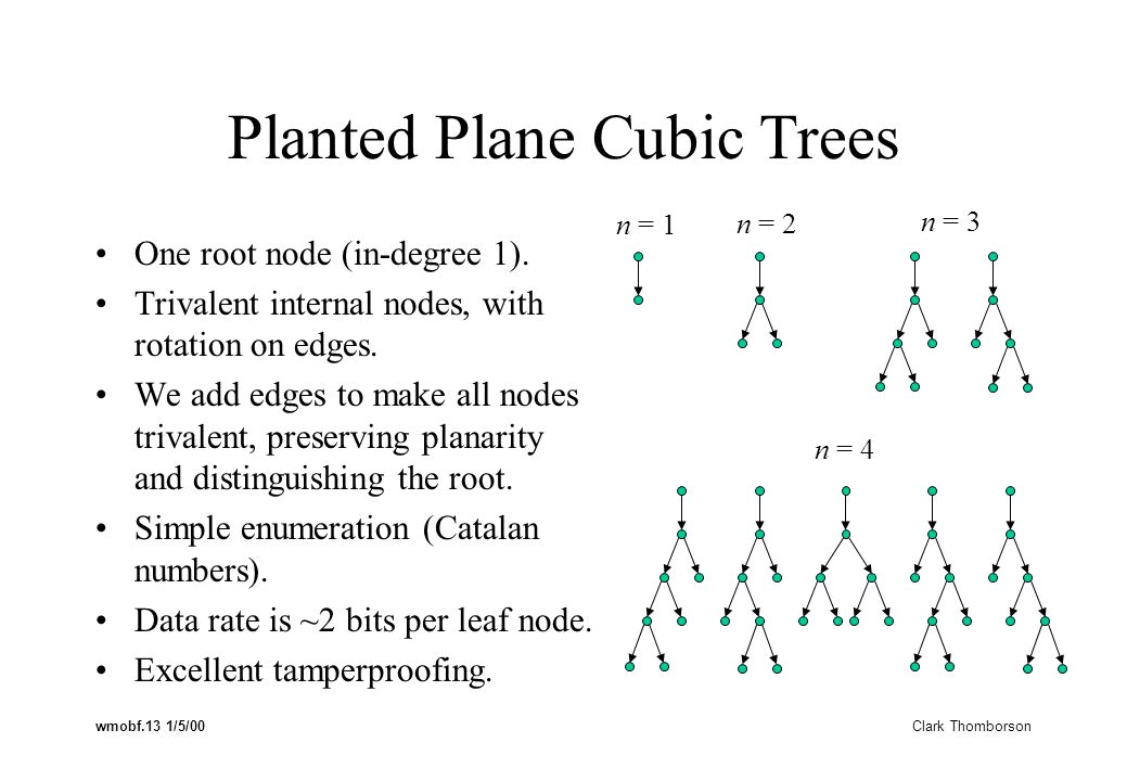 wmobf.13 1/5/00 Clark Thomborson Planted Plane Cubic Trees One root node (in-degree 1).