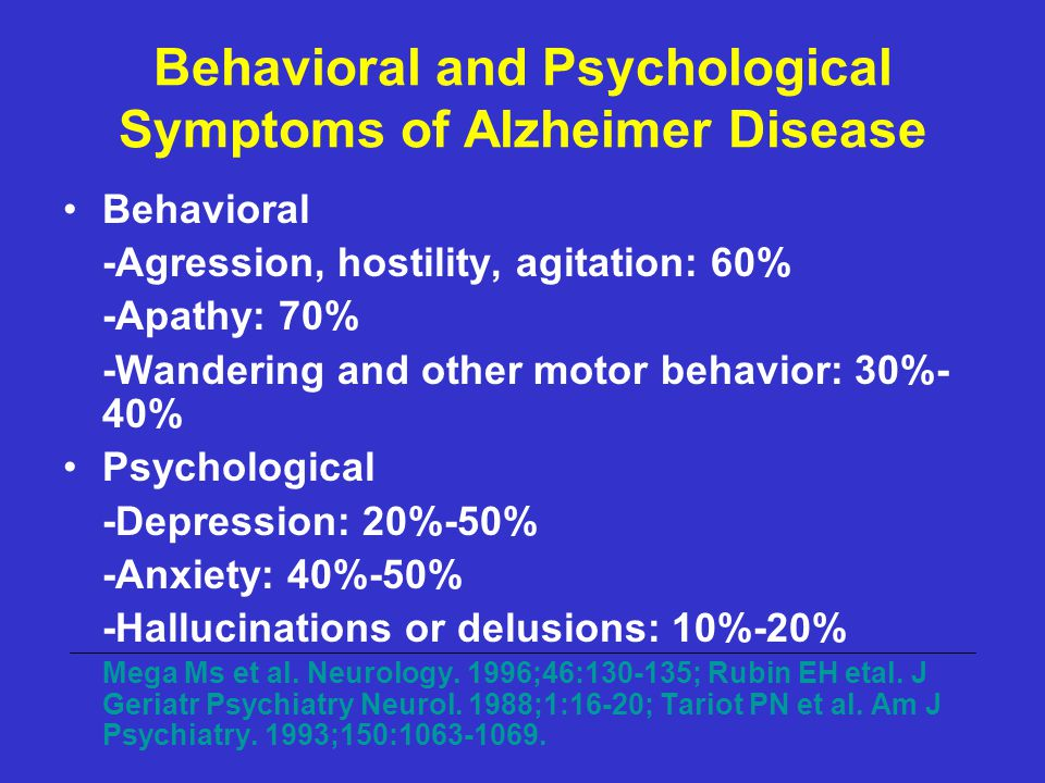 Behavioral and Psychological Symptoms of Alzheimer Disease Behavioral -Agression, hostility, agitation: 60% -Apathy: 70% -Wandering and other motor be