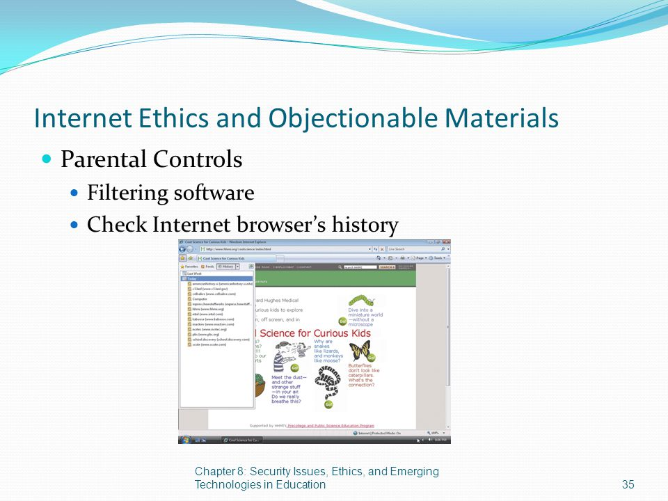 Internet Ethics and Objectionable Materials Parental Controls Filtering software Check Internet browser's history Chapter 8: Security Issues, Ethics,