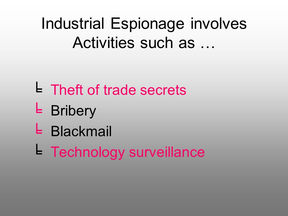 Industrial Espionage involves Activities such as … ╘ Theft of trade secrets ╘ Bribery lackmail ╘ Technology surveillance