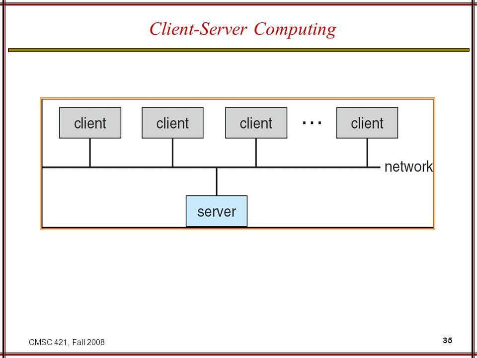 CMSC 421, Fall 2008 35 Client-Server Computing