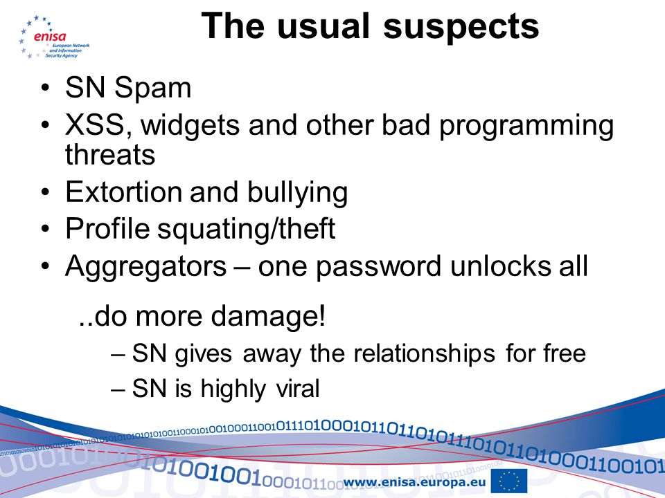 The usual suspects SN Spam XSS, widgets and other bad programming threats Extortion and bullying Profile squating/theft Aggregators – one password unlocks all..do more damage.