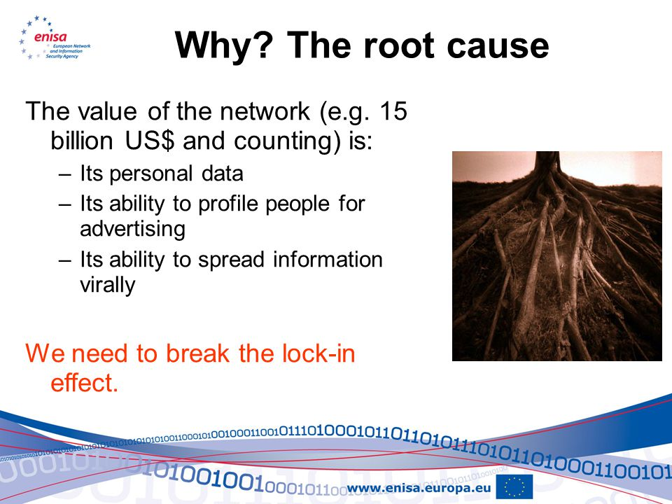 Why. The root cause The value of the network (e.g.