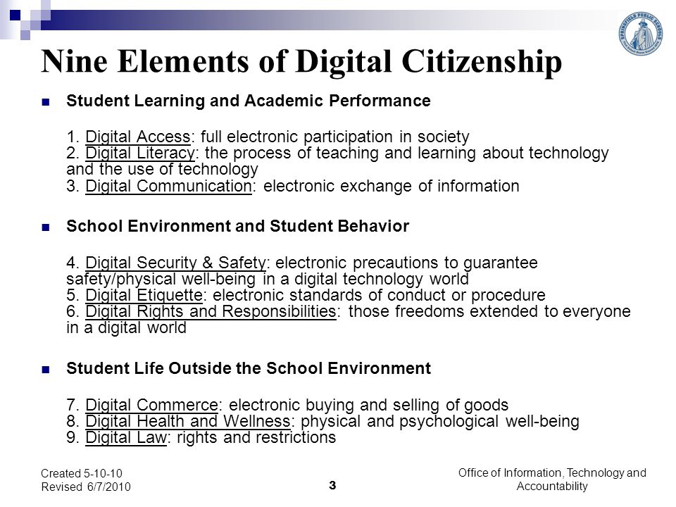Legal rights and restrictions governing technology use Created 5-10-10 Revised 6/7/2010 24 Office of Information, Technology and Accountability