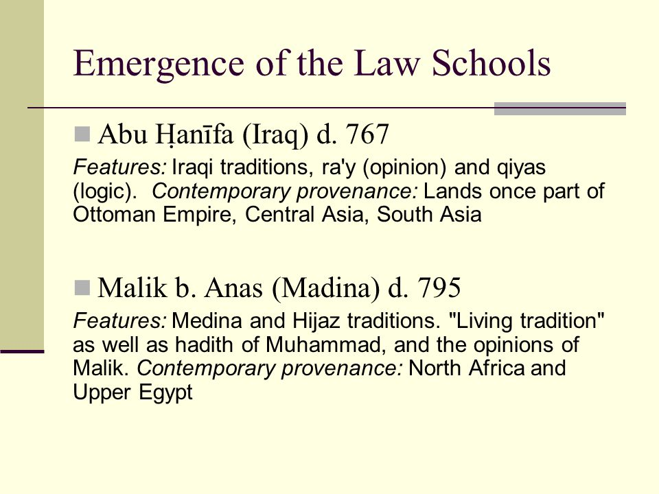 Emergence of the Law Schools Abu Hanīfa (Iraq) d.